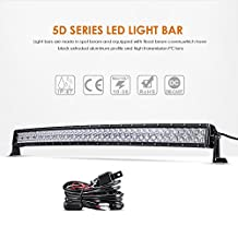 "Auxbeam 42"" 240W Curved LED Light Bar 5D Lens 24000LM CREE Spot Flood Combo Beam Driving Light with Wiring Harness"