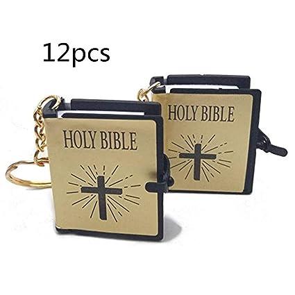 Image Unavailable. Image not available for. Color  JUMUU 12pcs Holy Bible  Keychain-Mini ... b05ec3b3e238
