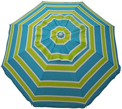 Heininger 1300 Blue Lime Sea Blue Lime Green 7 Beach Umbrella with Tilt and Travel Bag