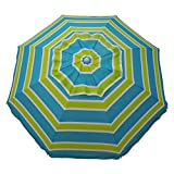 Heininger 1300 Sea Blue/Lime Green 7' Beach Umbrella with Tilt and Travel Bag