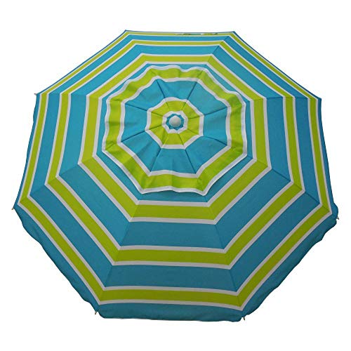 Heininger 1300 Sea Blue/Lime Green 7' Beach Umbrella with Tilt and Travel Bag
