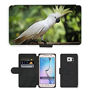 Hot Style Cell Phone Card Slot PU Leather Wallet Case // M00112669 Older Sibling Parrot Bird Animals // Samsung Galaxy S6 (Not Fits S6 EDGE)