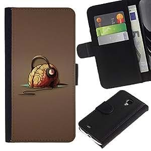"Samsung Galaxy S4 Mini i9190 / i9195 (Not For Galaxy S4) , la tarjeta de Crédito Slots PU Funda de cuero Monedero caso cubierta de piel ("" Brain Headphones Music Art Drawing Vibes"")"