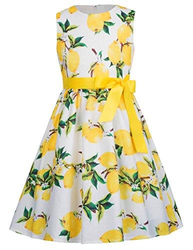 Girls Floral Sleeveless Vintage Flared Dressses 10-11yrs CL8997-5