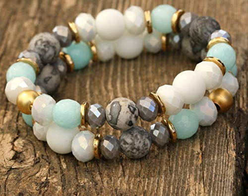Set of Two Women's Charm Stacking Bracelets, Made of Jasper and Jade Stones, Crystals and Gold Plated Brass Beads, Boho Handmade Designer Jewelry