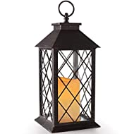 """BRIGHT ZEAL 14"""" TALL Vintage Candle Lantern with LED Flickering Flameless Candles and Timer (Distressed BRONZE) - LED Candle Lanterns Decorative - Candles & Holders - Indoor Outdoor Hanging Lights"""