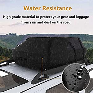 Waterproof Car Vehicles SUVs Roof Top Cargo Carrier Easy to Install Luggage Travel Storage Bag (14 Cubic Feet) [US STOCK]