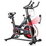 GYMAX Indoor Magnetic Bike, Stationary Belt Drive Bicycle, Quiet Exercise Bike w/LCD Monitor for Home Gym Cardio Workout