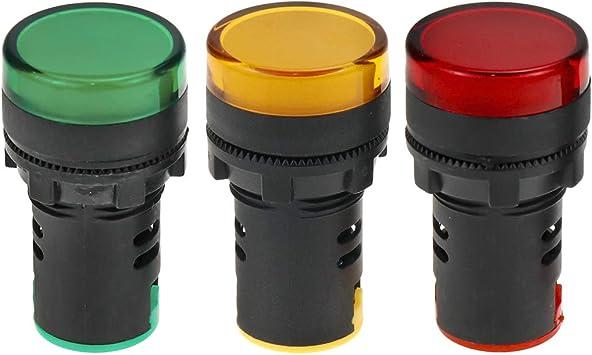 Red+Green+Yellow LED uxcell 4Pcs AC//DC 12V Indicator Lights Flush Panel Mount 7//8 22mm