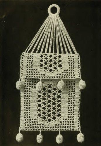 (FILET HANDKERCHIEF BAG Vintage Crochet Pattern)