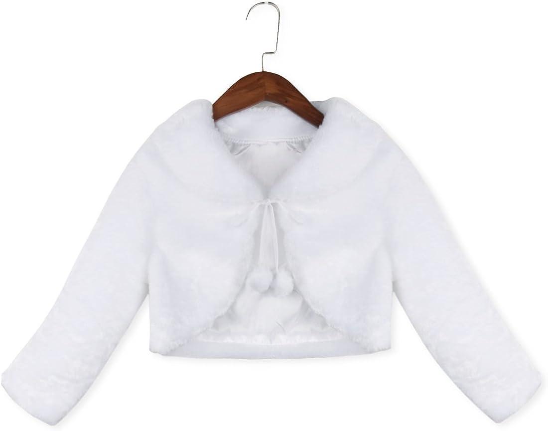 Freebily Cappotto Bambina Invernale Elegante Giacca di Pelliccia Corta Coprispalle Sposa Inverno Manica Lunga Autunno Mantello Bambina Principessa
