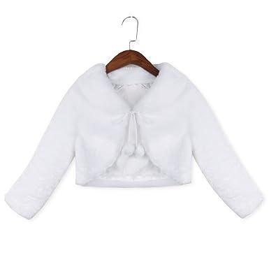 803f8f55d Freebily Kids Girls Faux Fur Long Sleeve Jacket Coat Wedding Flower ...
