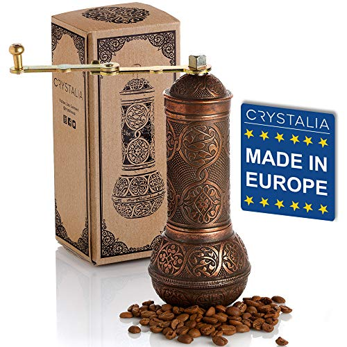Coffee Grinder, Refillable Turkish Style Mill with Adjustable Grinder, Manual Coffee Mill with Handle, Antique Grinder…