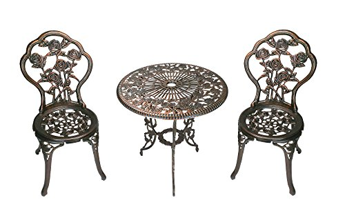Oakland Living 3-Piece Rose Bistro Set with 23.5-Inch Cast aluminum Top Table - Antique Patio Set