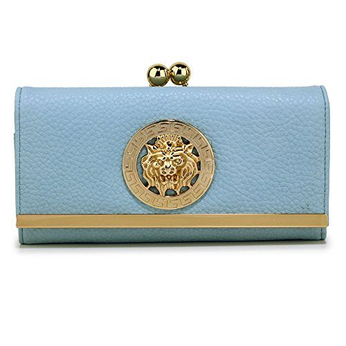 Womens Large Purses Ladies designer Wallet With Card Slots and Metal Decoration Luxury Look Design 1 - Blue