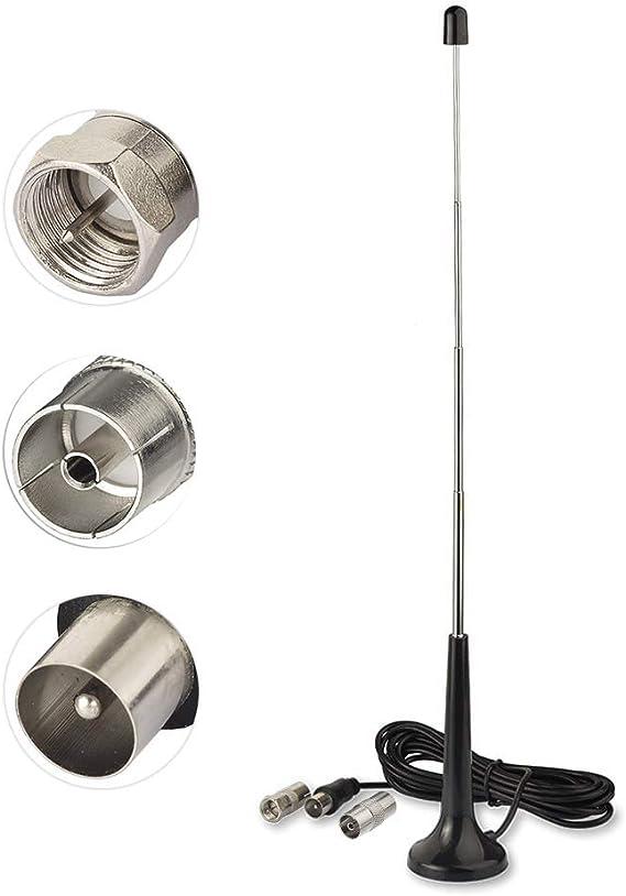 Bingfu Antena Dab FM Interior 75 Ohm Antena Telescópica Macho TV y 2 Adaptadors Base Magnética 3m para Radio FM Sintonizador de Radio Portátil ...