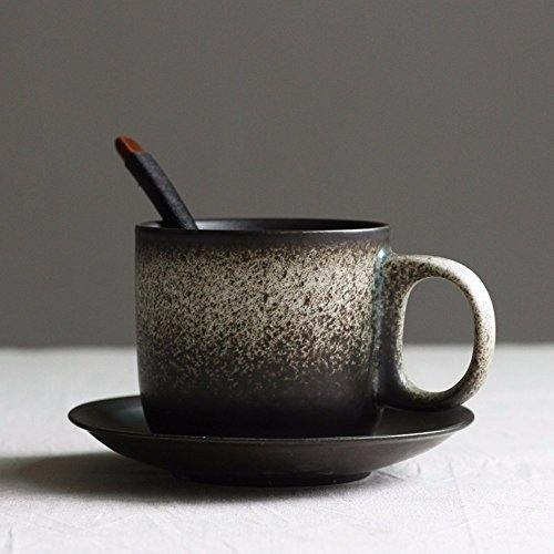 SSBY Creative grind arenaceous coffee cup restoring ancient ways suit personality with disc spoon mugs contracted ceramic cup water cup couple cups,B