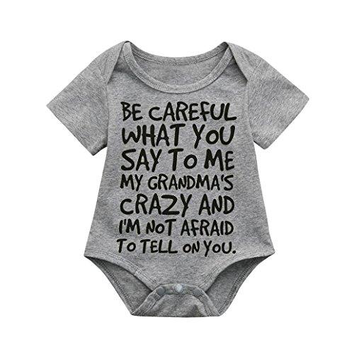 - Lisin Newborn Infant Baby Kids Girl Boy Print Romper Jumpsuit Short Sleeve Outfits Sunsuit Clothes (Size:18/24Months, Gray)