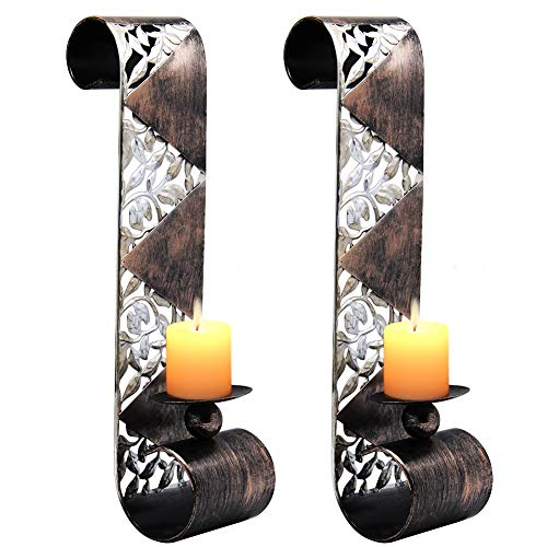 (Shelving Solution Wall Sconce Candle Holder Metal Wall Art for Living Room, Bathroom, Dining Room Decoration, Set of 2)