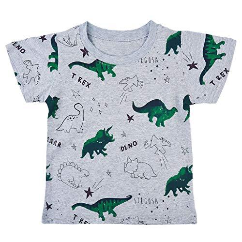 Zlolia Newborn Boys&Girls Dinosaur Print T-Shirt Cotton Round Neck Comfort Short Sleeve Pullover Kids Summer Fashion Outfits Gray