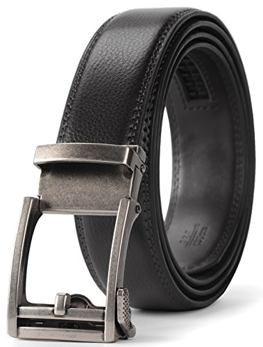 JASGOOD Men's Genuine Leather Ratchet Dress Belt for men with Automatic Buckle,In a Nice Gift Box (Suit Pant Size 28-44, 01-Black New 3)