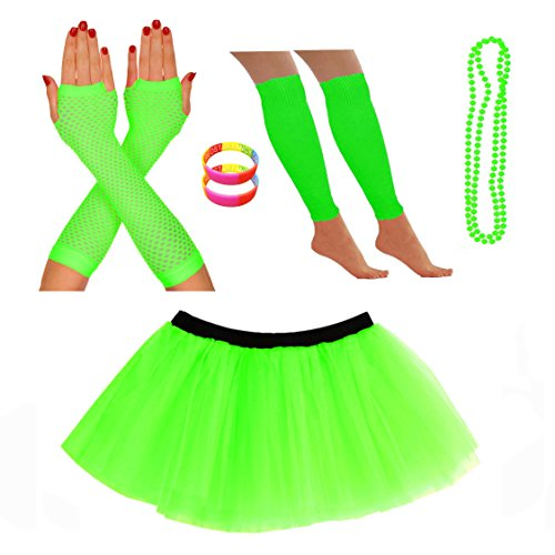Fishnet Necklace - RED STAR FANCY DRESS Skirt Leg Warmers Fishnet Gloves Necklace Wrist Beads 10-18 US Green