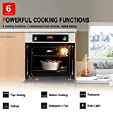"""Single Wall Oven, GASLAND Chef GS606DS 24"""" Built-in Natural Gas Oven, 6 Cooking Functions Convection Gas Wall Oven with Rotisserie, Digital Display with Mechanical Knob Control, Stainless Steel Finish"""