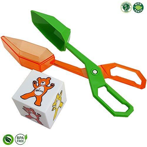 Skoolzy幼児用おもちゃ| Fineモーターツールセット|スクープTongsとカラーBear Dice |学習&教育Montessori Manipulative Toys