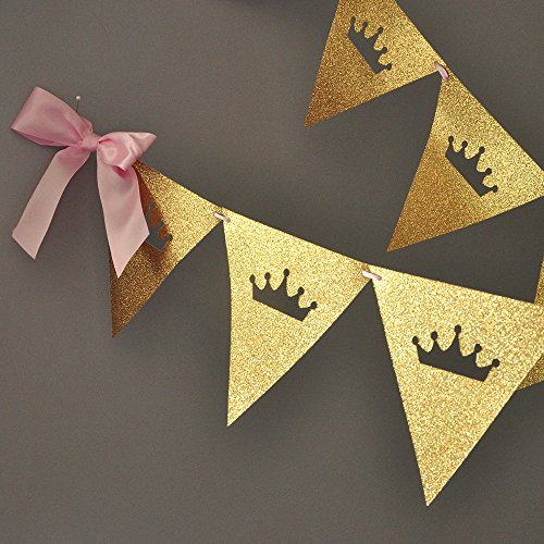 Pink and Gold Princess Bunting Banner. Tiara Garland.
