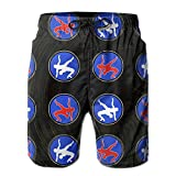 Oct USA Wrestling Logo Drawstring Closure Mens Boardshorts Swim Trunks Tropical Soccer Board Shorts Bathing Swim Trunks