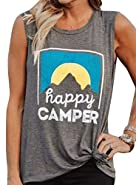 Yebeau Happy Camper Tank Top Sunrise Letters Printed Sleeveless T Shirt Blouse Vest Tops Tank Top Gray Funny Shirt Tee