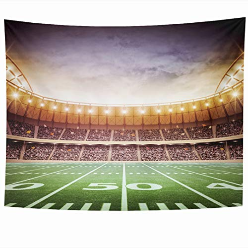 Ahawoso Tapestry 60x50 Inch Event Green Field American Stadium Sports Bleachers Recreation Night Soccer Baseball Rugby Arena Kick Wall Hanging Home Decor for Living Room Bedroom Dorm ()