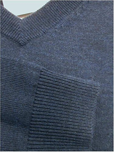 Turnbury Extra Fine Merino Wool Ocean Navy Heather L/S V-Neck Sweater Large by Turnbury (Image #2)
