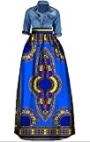 Sibylla Women's Casual African Printed Long Maxi Skirt Plus Size A Line Cocktail Skirt Ball Gown