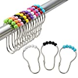 Amazer Rustproof Stainless Steel Shower Curtain Rings Hooks, Set of 12 (Colorful)