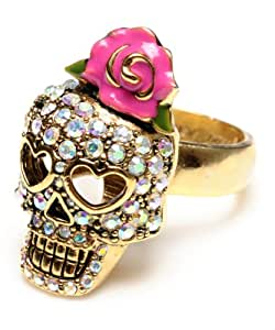 Betsey Johnson Crystal Vampire Slayer Skull Pink Flower Ring