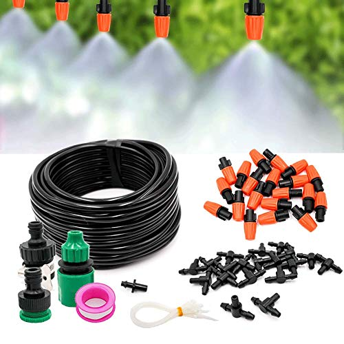 Banfeng Mist Irrigation Kit Mist Cooling System,50ft 1/4'' Plant Watering Kit with Blank Distribution Tubing Hose, 20pcs Plastic Mist Nozzle Sprinklers for Garden Greenhouse Outdoor ()