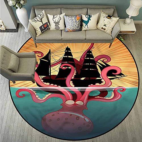 Pet Rugs,Kraken,Coral Sea Monster Folk,with No-Slip Backing,3'7