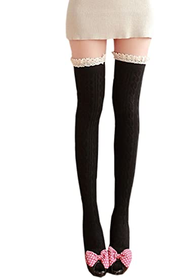 9483922bd0d ECHERY Women Girls Over The Knee Socks Lace Top Fancy Dress Thigh High Hold  Ups Stockings Black at Amazon Women s Clothing store