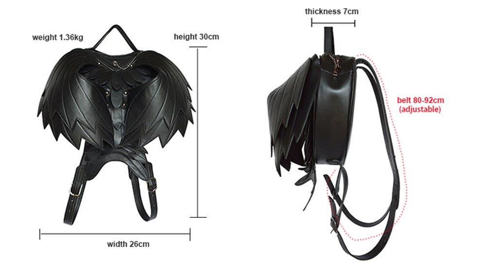 Wing Punk Leather Backpack Women Men Retro 3D Shoulders Bag