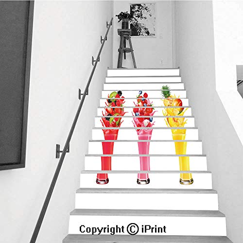 (Stair Stickers Wall Stickers,13 PCS Self-Adhesive,Stair Riser Decal for Living Room, Hall, Kids Room,Fruit in Juice Splashes Strawberry Guava Kiwi)