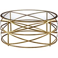 Modern Criss Cross Metal Gold Ribbon 36 in Round Coffee Table with Glass Top - Includes Modhaus Living Pen