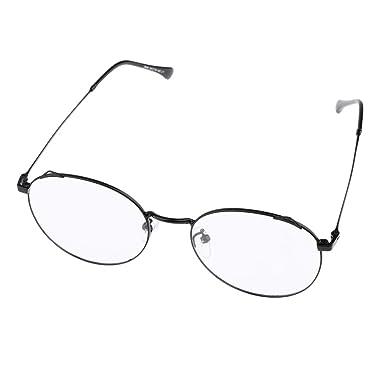 556d4dc7d94f fenteer Vintage Lightweight Round Thin Rim Metal Frame Clear Lens Eyeglasses  for Women - Black