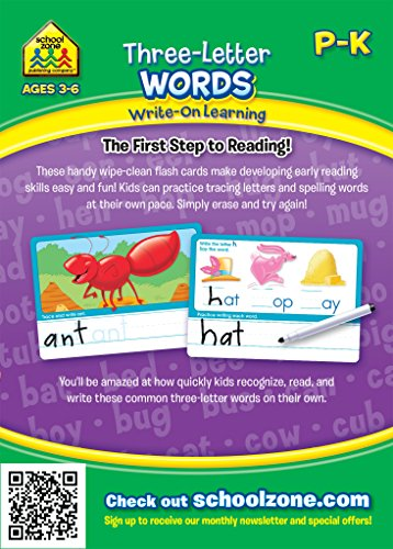 51zQJvWUfKL - School Zone - Three-Letter Words Wipe Clean Flash Cards, Preschool and Kindergarten, Ages 3 to 6, Write-On Learning, Interactive Flash Cards, Early Reading, Includes Dry Erase Marker