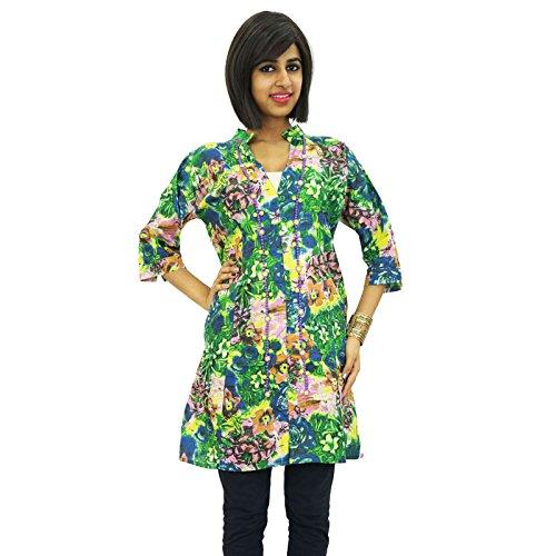Con cuentas étnicas algodón Mujeres Kurti Wear Kurta manga larga Ropa india Verde