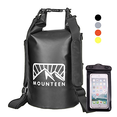 Waterproof Dry Bag Backpack by Mounteen: Roll Top Marine Grade Secure Sack To Keep Gears Dry For River Kayaking, Boating, Camping, Fishing & Hiking With Lightweight Waterproof Phone Case, 10L/20L