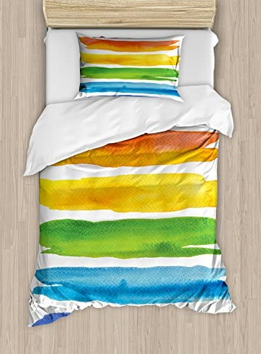 Amazon Com Lunarable Colorful Duvet Cover Set Abstract Watercolored Lines With Rainbow Color Scheme Acrylic Paint Design Print Decorative 2 Piece Bedding Set With 1 Pillow Sham Twin Size Multicolor Home Kitchen