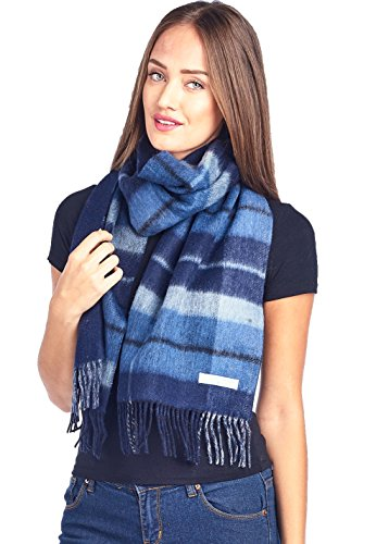 Mariyaab 100% Lambswool wool Men and Women Double Sided Plaid Pashmina Scarf (911071, Navy/NavyBlack)