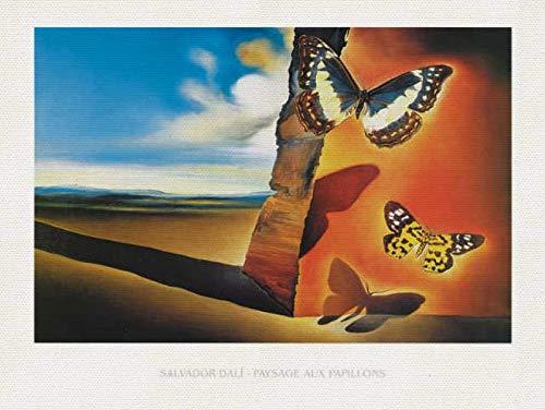 Kunst für Alle Cuadro en Lienzo: Salvador Dalí Paysage Aux Papillons - Impresión artística, Lienzo en Bastidor, 80x60 cm: Amazon.es: Hogar