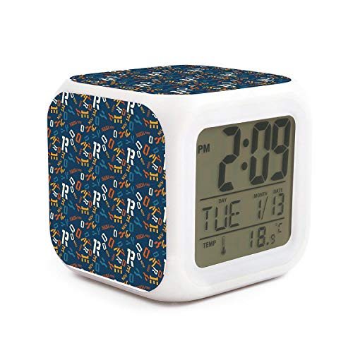 New York Jets Desk Clock - kanidjkd Wake Up New York Creative Blue Background Dimmer Snooze LED Nightlight Bedroom Desk Travel Digital Alarm Clock for Kids Girls